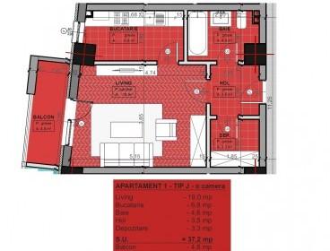Viva Imobiliare - Apartament 1 camera bloc nou BILLA 42mp