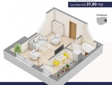 Viva Imobiliare - Apartament 1 camera bloc nou Centru Palas