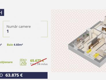 Viva Imobiliare - Apartament de vanzare 1 camera Centru - Palas