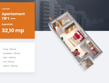 Viva Imobiliare - Apartament 1 camera bloc nou Centru - PALAS, Comision 0%