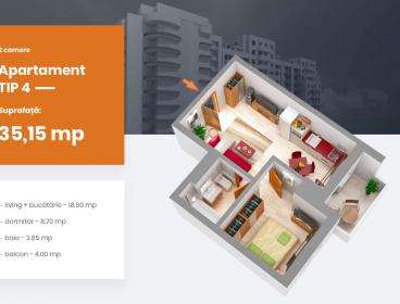 Viva Imobiliare - Apartament 2 camere bloc nou Centru - PALAS, Comision 0%