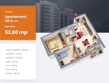 Viva Imobiliare - Apartament 3 camere bloc nou Centru - PALAS, Comision 0%