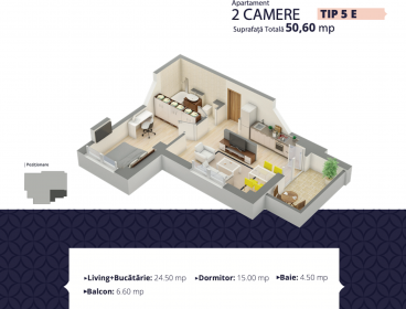Viva Imobiliare - Apartament de vanzare cu 2 camere bloc nou Centru - Palas
