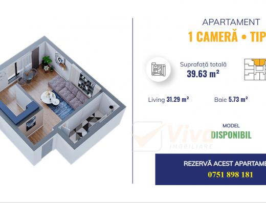 Viva Imobiliare - Apartament 1 camera - Dacia Bloc nou