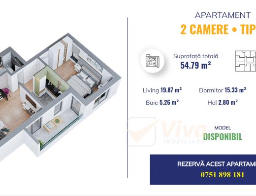 Viva Imobiliare - Apartament 2 camere - Dacia Bloc nou
