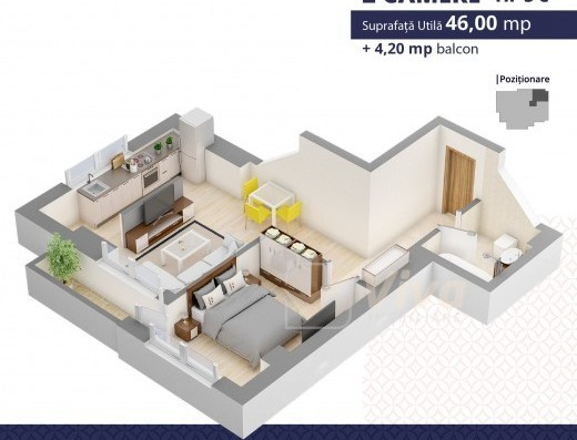 Viva Imobiliare - Apartament 2 camere bloc nou Centru Palas