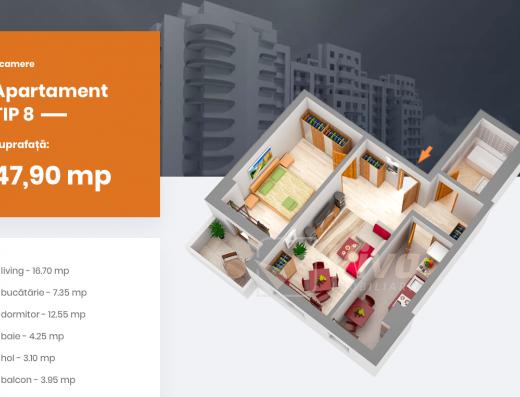 Viva Imobiliare - Apartament 2 camere 48 mp bloc nou Centru - PALAS, Comision 0%