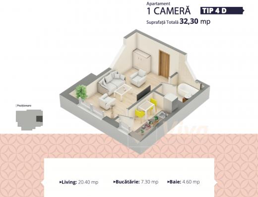 Viva Imobiliare - Apartament de vanzare 1 camera bloc nou Centru - Palas
